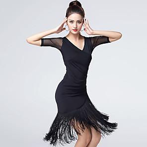 cheap Ballroom Dancewear-Latin Dance Dress Tassel Women's Training Performance Half Sleeve Natural Ice Silk