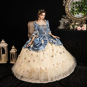cheap Historical & Vintage Costumes-Maria Antonietta Rococo Baroque Victorian Dress Party Costume Masquerade Women's Tulle Satin Costume LightBlue Vintage Cosplay Party Halloween Party & Evening Floor Length Ball Gown Plus Size