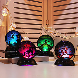 cheap Wall Stickers-1pc Halloween Pumpkin Witch Skeleton Catus Pattern Crystal Ball Night Light Colorful Button Battery Powered New Design Creative Decoration