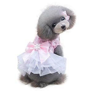 cheap Dog Clothes-Dog Dress Bowknot Chic & Modern Wedding Fashion Dog Clothes Yellow Pink Costume Chiffon XS S M L XL
