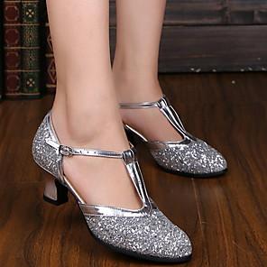 cheap Wedding Shoes-Women's Modern Shoes / Ballroom Shoes PU Heel Cuban Heel Dance Shoes Gold / Silver / Performance