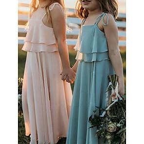 cheap Door Locks-A-Line Strap Floor Length Chiffon Junior Bridesmaid Dress with Side Draping / First Communion