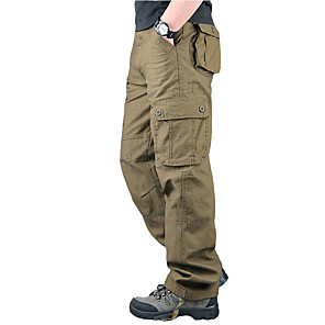 cheap Hiking Trousers & Shorts-Men's Hiking Pants Hiking Cargo Pants Winter Outdoor Warm Soft Comfortable Wear Resistance Cotton Pants / Trousers Bottoms Black Yellow Army Green Grey Khaki Camping / Hiking / Caving Traveling S M L