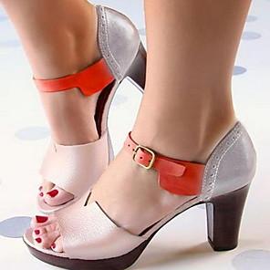 cheap Women's Sandals-Women's Sandals Chunky Heel Round Toe PU Summer Black / Gold / Silver