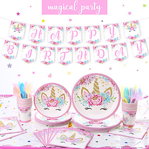 cheap Party Supplies-Party / Birthday Party Accessories Ornaments Splicing Plastic / Pure Paper Classic Theme / Unicorn / Creative / Vintage Theme