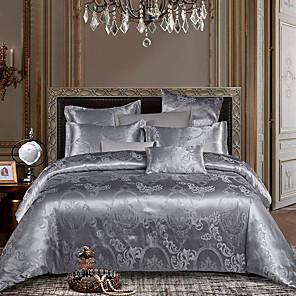 cheap Mosquito Nets-Duvet Cover Sets 4 Piece Silk / Cotton Blend Floral / Botanical Dark Red Jacquard Luxury / 4pcs (1 Duvet Cover, 1 Flat Sheet, 2 Shams)