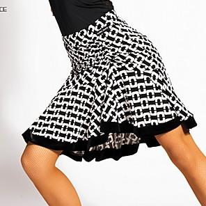 ราคาถูก ชุดเต้นรำลาติน-ชุดเต้นละติน กระโปรง แพทเทิร์นหรือลายพิมพ์ กระโปรงระบาย สำหรับผู้หญิง การฝึกอบรม Crystal Cotton