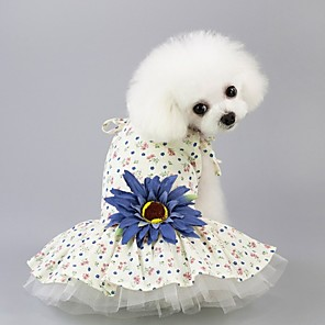cheap Dog Collars, Harnesses & Leashes-Dog Dress Flower Wedding Dog Clothes Yellow Blue Costume Polyster XS S M L XL