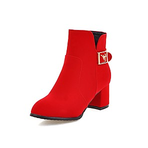 cheap Women's Boots-Women's Boots Chunky Heel Round Toe Suede Booties / Ankle Boots Chinoiserie Fall & Winter Black / Red