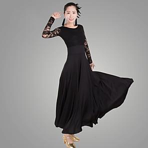 povoljno Svečana plesna odjeća-Klasični plesovi Haljina Čipka Žene Seksi blagdanski kostimi Dugih rukava Prirodno Čipka Tejszövet