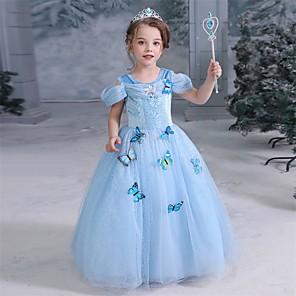 cheap Movie & TV Theme Costumes-Cinderella Fairytale Princess Dress Flower Girl Dress Girls' Movie Cosplay A-Line Slip Halloween Christmas Yellow / Pink / Blue Dress Halloween