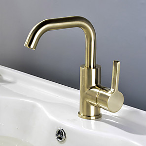 cheap Bathroom Sink Faucets-Bathroom Sink Faucet - Widespread Brushed Gold Centerset Single Handle One HoleBath Taps