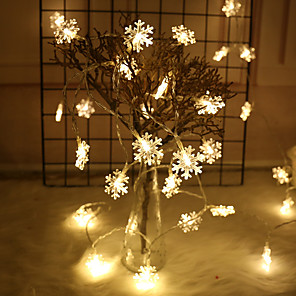 cheap LED Spot Lights-3m String Lights 20 LEDs EL Warm White / RGB / Wedding / Christmas Wedding Decoration Party Supplies Snowflake Rope Light Garland Ornaments Christmas Tree Home Decorations Winter Snow USB Powered 1pc