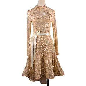 cheap Latin Dancewear-Latin Dance Dress Sashes / Ribbons Split Joint Women's Training Long Sleeve High Spandex