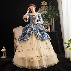 cheap Anime Costumes-Maria Antonietta Rococo Medieval Winter Dress Party Costume Masquerade Women's Costume Blue Vintage Cosplay Party Masquerade 3/4-Length Sleeve Floor Length Ball Gown