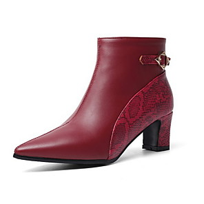 cheap Women's Boots-Women's Boots Chunky Heel Pointed Toe PU Booties / Ankle Boots Fall & Winter Almond / Burgundy / Black