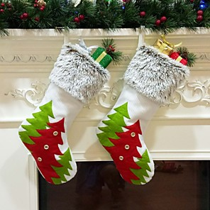 cheap Christmas Decorations-Christmas Stockings Red Green Christmas Tree Sock Gift Kids Candy Bag Christmas Decoration For Home Christmas Tree Ornaments