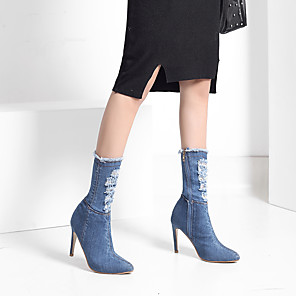cheap Women's Boots-Women's Boots Stiletto Heel Pointed Toe Denim Fall & Winter Light Blue / Dark Blue