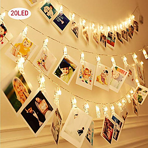 cheap LED String Lights-1pcs Photo Collage Clip String Lights 3m 20leds Decorative Wedding Bedroom Wall Display Fairy Photo Lights for Hanging Pictures Cards