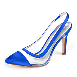 cheap Women's Heels-Women's Wedding Shoes Plus Size Stiletto Heel Pointed Toe Minimalism Wedding Party & Evening Solid Colored Satin White / Black / Purple
