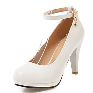 cheap Women's Heels-Women's Heels Chunky Heel Round Toe PU Spring &  Fall Black / White / Blue