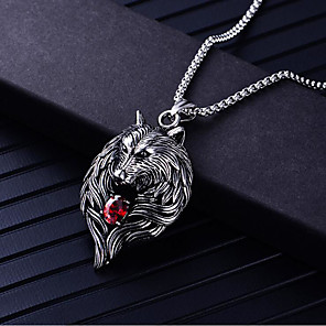 cheap Pendant Necklaces-Men's Cubic Zirconia Pendant Necklace Geometrical Wolf Fashion Titanium Steel Silver 60 cm Necklace Jewelry 1pc For Daily Carnival