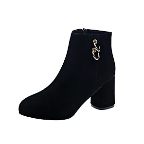 cheap Women's Sandals-Women's Boots Chunky Heel Pointed Toe Buckle Satin Booties / Ankle Boots Casual Walking Shoes Fall & Winter Black