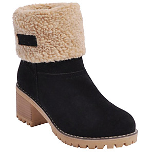 cheap Women's Boots-Women's Boots Snow Boots Chunky Heel Round Toe Suede Mid-Calf Boots Winter Black / Camel / Orange