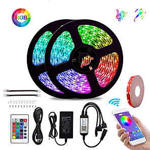 cheap LED Strip Lights-KWB 2x5M Flexible LED Strip Lights Light Sets RGB Tiktok Lights Smart Lights 600 LEDs SMD5050 10mm 1Set Mounting Bracket Waterproof APP Control Cuttable 100-240 V 1 set