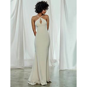 cheap Bridesmaid Dresses-Sheath / Column Spaghetti Strap Sweep / Brush Train Chiffon Bridesmaid Dress with / Open Back