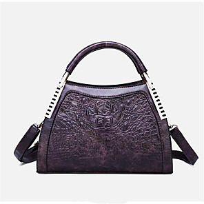 cheap Handbag & Totes-Women's PU Tote Solid Color Black / Purple / Red / Fall & Winter