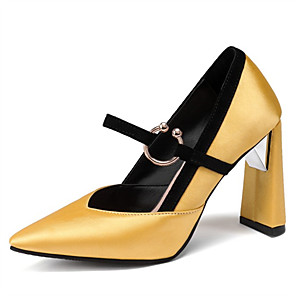 cheap Women's Heels-Women's Heels Chunky Heel Pointed Toe Satin Spring &  Fall Black / Gold / Yellow / Party & Evening