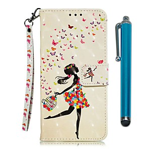 cheap Other Phone Case-Case For LG Stylo 4 / LG Stylo 5 Wallet / Card Holder / with Stand Full Body Cases Black Girl PU Leather