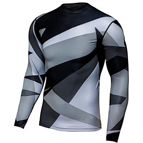 cheap Cycling Jerseys-Men's Long Sleeve Cycling Jersey Downhill Jersey Dirt Bike Jersey Winter Grey Geometic Bike Jersey Motorcyle Clothing Top Mountain Bike MTB Road Bike Cycling Thermal / Warm Windproof Breathable Sports