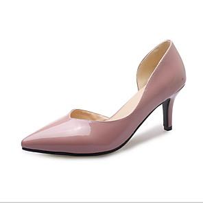 cheap Women's Heels-Women's Heels Low Heel Pointed Toe PU Summer Black / White / Pink / Daily