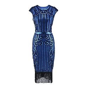 cheap Latin Dancewear-Dance Costumes Dress Tassel Paillette Women's Party Performance Sleeveless Terylene Polyester Taffeta