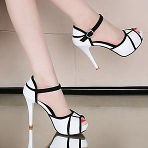 cheap Women's Sandals-Women's Heels Stiletto Heel Peep Toe PU Sweet / Minimalism Spring &  Fall / Fall & Winter White / Party & Evening / Color Block