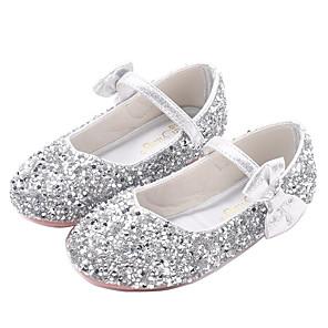cheap Kids' Flats-Girls' Novelty / Flower Girl Shoes PU Flats Little Kids(4-7ys) Walking Shoes Bowknot Purple / Silver / Pink Fall / Winter / Rubber