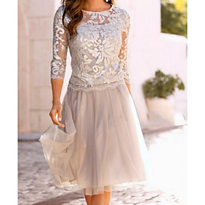 cheap Outdoor Speakers-A-Line Mother of the Bride Dress Elegant See Through Jewel Neck Knee Length Chiffon Lace 3/4 Length Sleeve with Lace Ruching 2020 Mother of the groom dresses