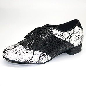 cheap Ballroom Shoes & Modern Dance Shoes-Men's Modern Shoes / Ballroom Shoes PU Lace-up Heel Thick Heel Dance Shoes Silver / Black / Performance / Practice