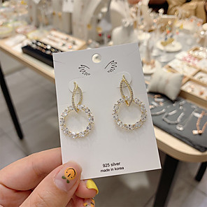 cheap Earrings-Women's Earrings Classic Alphabet Shape Candy Gold Plated S925 Sterling Silver Earrings Jewelry Gold For Gift Daily Festival 1 Pair