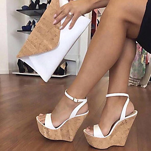 cheap Women's Sandals-Women's Sandals Wedge Sandals Plus Size Wedge Heel Open Toe Classic Minimalism Daily Solid Colored PU Summer Nude / White / Black