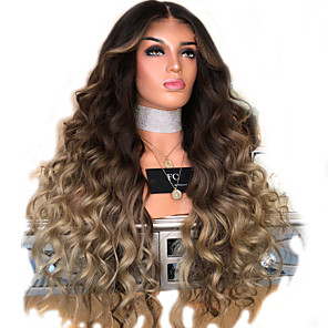 cheap Synthetic Trendy Wigs-Synthetic Wig kinky Straight Middle Part Wig Blonde Long Light golden Synthetic Hair 28 inch Women's Color Gradient Blonde