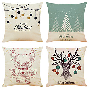 cheap Throw Pillow Covers-Set of 4 Elk Christmas Linen Square Decorative Throw Pillow Cases Sofa Cushion Covers 18x18