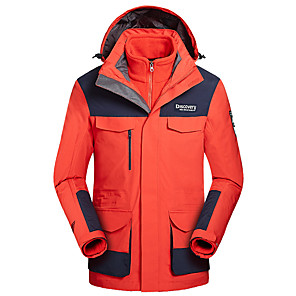 cheap Softshell, Fleece & Hiking Jackets-Men's Hiking 3-in-1 Jackets Hiking Jacket Winter Outdoor Patchwork Waterproof Windproof Warm Comfortable Jacket Top Camping / Hiking / Caving Traveling White / Orange / Camouflage / Blue