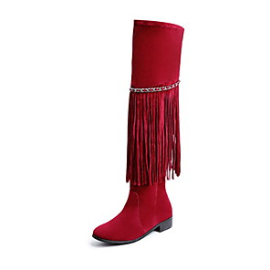 cheap Women's Boots-Women's Boots Knee High Boots Flat Heel Round Toe Tassel Suede Knee High Boots Fall & Winter Black / Yellow / Red