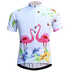 cheap Cycling Jerseys-JESOCYCLING Flamingo Women's Short Sleeve Cycling Jersey - White Bike Jersey Breathable Quick Dry Anatomic Design Sports 100% Polyester Mountain Bike MTB Road Bike Cycling Clothing Apparel / Stretchy