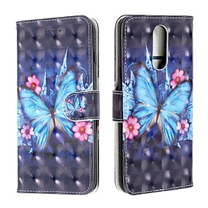cheap Other Phone Case-Case For LG V50 / LG Stylo 5 / LG K40 Wallet / Card Holder / Flip Full Body Cases Butterfly PU Leather For LG G7/G7-ThinQ/G8