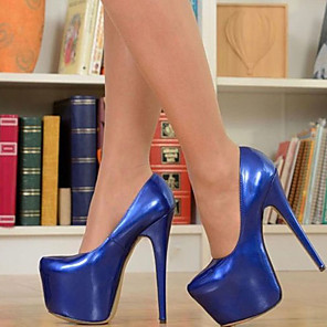 cheap Women's Heels-Women's Heels Stiletto Heel Round Toe Patent Leather Spring &  Fall Royal Blue / Party & Evening