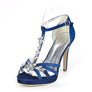 cheap Wedding Shoes-Women's Wedding Shoes Stiletto Heel Open Toe Rhinestone Synthetics Sweet Fall / Spring & Summer Black / Gold / Royal Blue / Party & Evening